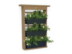 Algreen 34002 GardenView Vertical Living Wall Hanging Planter for 3 Planters