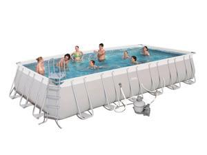 "Bestway 24' x 12' x 52"" Power Steel Rectangular Above Ground Swimming Pool Set"