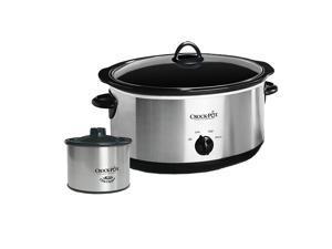 Crock-Pot 8 Quart Slow Cooker and 16 Oz Little Dipper Food Warmer Stainless