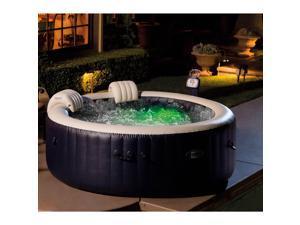 Intex PureSpa 4-Person Inflatable Hot Tub, Slip-Resistant Seat & Foam Headrest