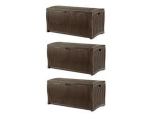 Suncast 73 Gallon Waterproof Resin Wicker Outdoor Patio Storage Deck Box, 3 Pack