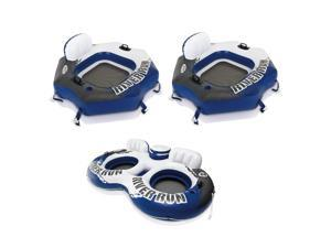 Intex River Run Connect 1 Person Floating Tube, Blue (2 Pack) & 2 Person Tube