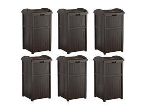 Suncast Trash Hideaway Outdoor Patio 33 Gal Garbage Waste Trash Can Bin (6 Pack)