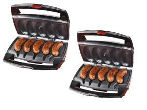 Johnsonville Sizzling Sausage Indoor Compact Stainless Electric Grill (2 Pack)