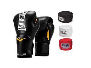 Everlast Black Elite ProStyle Boxing Gloves 14 Oz & 120-Inch Hand Wraps (3 Pack)