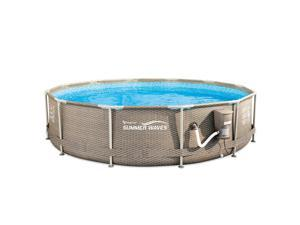 """Summer Waves 12' x 30"""" Outdoor Round Frame Above Ground Swimming Pool with Pump"""