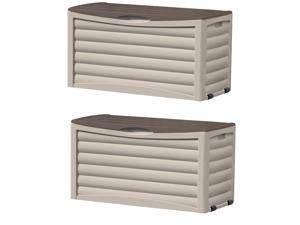 Suncast DB8300 83 Gallon Resin Outdoor Patio Storage Deck Box, Taupe (2 Pack)