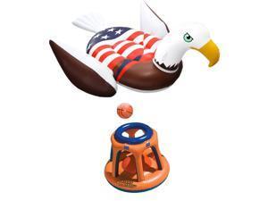 Swimline American Bald Eagle Riding Pool Float & Basketball Hoop Pool Toy