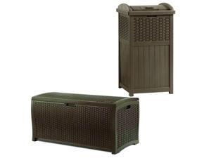 Suncast Trash Hideaway Outdoor Garbage & Outdoor Patio Storage Deck Box