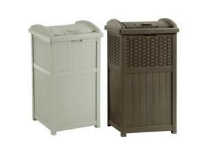 Suncast Trash Hideaway 33 Gallon Garbage Container, 1 Beige & 1 Brown (2 Pack)