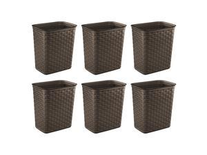 Sterilite Weave 3.4 Gallon Plastic Home/Office Wastebasket Trash Can (6 Pack)