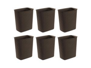 Sterilite Weave 5.8 Gallon Plastic Home/Office Wastebasket Trash Can (6 Pack)
