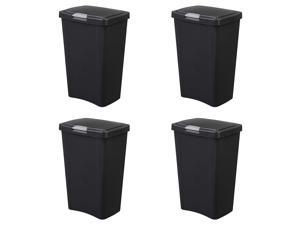 Sterilite 10459004 13 Gallon TouchTop Wastebasket with Titanium Latch, Black