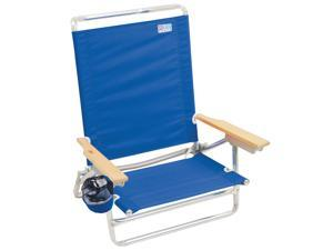 RIO Brands Classic 5 Position Aluminum Lay Flat Folding Beach Lounge Chair, Blue