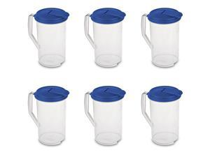 Sterilite 2 Qt Clear Plastic Drink Pitcher with Leak Proof Lid, Blue (6 Pack)