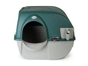 Omega Paw Roll'n Clean Unique No Scoop Self-Cleaning Home Cat Litter Box, Green