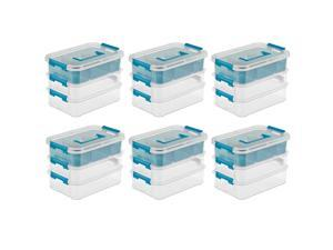 Sterilite Convenient Home 3-Tiered Stack Carry Storage Box, Clear (6 Pack)