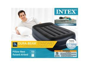"Intex 16.5"" Twin Dura-Beam Pillow Rest Airbed with Internal Pump 64121EP"