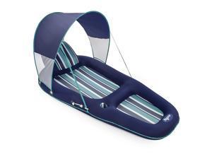 Aqua Leisure Luxurious Inflatable Pool Lounger Float w/ Sunshade Canopy, Blue