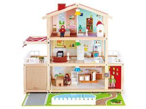 Hape Wooden 10 Room Family Play Mansion Dollhouse W/ Accessories for Ages 3 & up