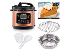 GoWISE USA 8-Quart 12-in-1 Electric Pressure Cooker and 50-Recipe Book, Copper