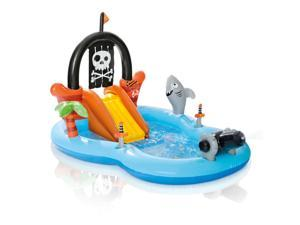 Intex Kid Friendly Outside Inflatable Water Pirate Fun Play Toy Center, 58 Gal
