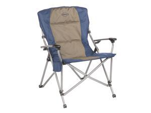 Kamp-Rite Hard Arm 3 position Reclining Folding Camp Chair w/Cupholder, Blue/Tan