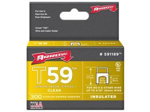 """Arrow Fastener 591168 5/16"""" x 5/16"""" Clear T59 Insulated Staples for RG59 Quad & RG6"""