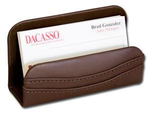 A3407 Business Card Holder Hand-tucked Chocolate Brown Leather