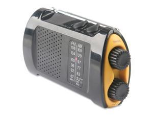 Emergency Crank Radio w/Flashlight, Yellow/Black, Sold as 1 Each