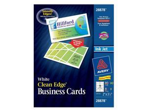 Avery 28878 2in X 3-1/2in White Clean Edge Business Cards 80 Count