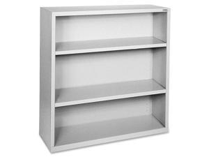 "Lorell Steel Bookcase 3-Shelf 34-1/2""x13""x42"" Light Gray 41283"