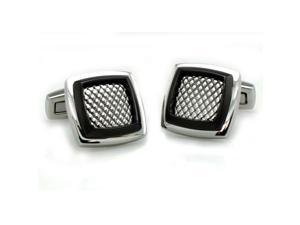 Tioneer Men's Two-Tone Stainless Steel Mesh Cuff Links