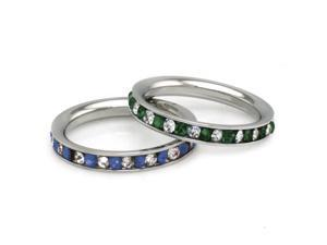 3mm Stainless Steel Eternity Emerald & Blue Sapphire Color / Clear Crystal Stackable Set Ring