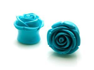 "1"" Gauge (25mm) Acrylic Tunnel Turquoise Rose Ear Plugs"