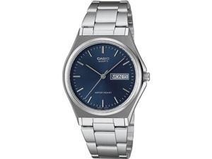 Casio Men's MTP1240D-2A Silver Stainless-Steel Quartz Watch with Blue Dial
