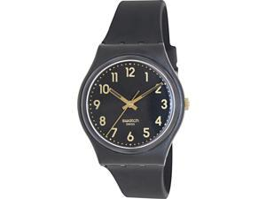 Swatch Golden Tac Black Dial Black Silicone Unisex Watch GB274