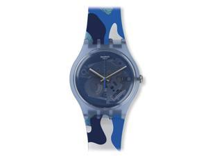 Swatch SUOZ215 Unisex Club Silverscape Blue Skeleton Dial Silicone Strap Watch