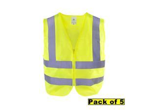 TR Industrial Neon Yellow Front Zipper Knitted Safety Vest, Size XXX-Large, Pack of 5