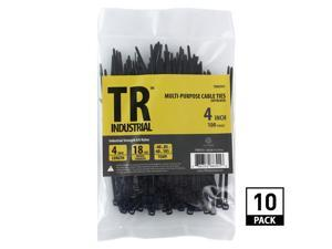 TR Industrial Multi-Purpose UV Resistant Black Cable Ties, 4 inches, 1000 Pack