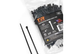 """TR Industrial Contractor Series UV Cable Ties (100-Piece), 4"""", Type 21, Made in USA"""