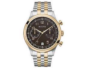 Bulova 98B248 Mens Silver & Rose Gold Finish Chronograph Watch