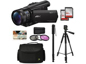 """Sony FDR-AX100 4K Ultra HD Handycam Camcorder with 64GB Memory Card, Carrying Case, 72"""" Monopod with Quick Release, 60"""" Tripod, 3Pcs Filter Kit, Microfiber Cloth and Accessories Bundle"""