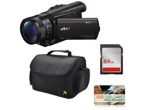 Sony FDR-AX100 4K Ultra HD Camcorder Video Camera + 64GB SD Card Memory, Carrying Case