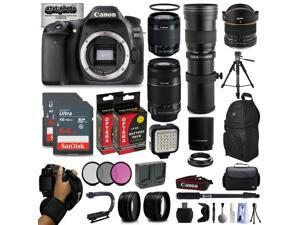 Canon EOS 80D DSLR Digital Camera with EF-S 18-55mm IS STM + 55-250mm IS II + 6.5mm Fisheye + 420-800mm Telephoto Lens + 128GB Memory + 2 Extra Batteries + Wide Angle + Telephoto + Backpack + Lens Kit