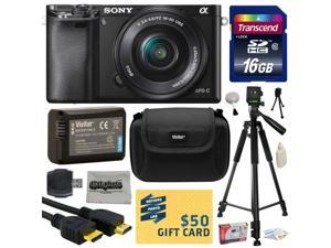 Sony Alpha a6000 24.3 MP Interchangeable Mirrorless Lens Camera with 16-50mm Power Zoom Lens with 16GB Memory Card + NP-FW50 Battery + Tripod + Hard Shell Carrying Case + Bonus $50 Gift Card