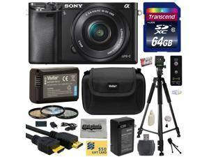 Sony Alpha a6000 24.3 MP Interchangeable Mirrorless Lens Camera with 16-50mm Power Zoom Lens with 64GB Memory Card + NP-FW50 Battery + Tripod + Hard Shell Carrying Case + Bonus $50 Gift Card