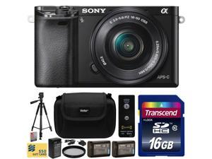 Sony Alpha a6000 24.3 MP Interchangeable Mirrorless Lens Camera with 16-50mm Power Zoom Lens with 16GB Memory Card + 2x NP-FW50 Battery + Charger + Tripod + UV Filter + Carrying Case + Wireless Remote