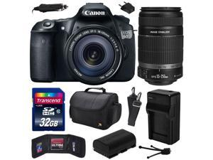 Canon EOS 60D 18 MP CMOS Digital SLR Camera with 18-135mm f/3.5-5.6 IS UD and EF-S 55-250mm f/4-5.6 IS II Lens with 32GB Memory + Large Case + Extra Battery + Travel Charger + Cleaning Kit 4460B004