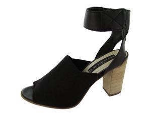 Steven Steve Madden Mable Womens Size 7.5 Black Fabric Dress Sandals Shoes